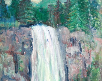 European art oil painting landscape waterfall signed