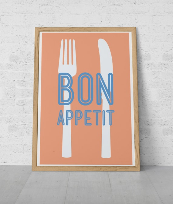 French Kitchen Print Cooking Poster BON APPETIT By