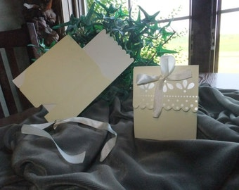 Ivory Satin Scalloped Edge DIY Wedding Party Favor Box, package of 100
