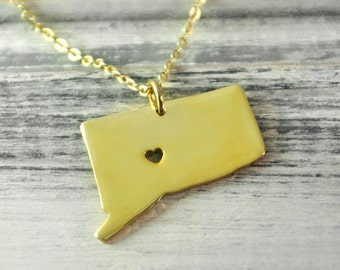 I  heart Connecticut  Necklace Connecticut  pendant 18K gold plated state necklace state pendant map pendant  hammered state necklace