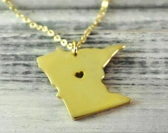 I  heart  Minnesota Necklace Minnesota pendant 18K gold plated state necklace state pendant map pendant  hammered state necklace map jewelry