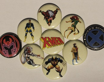 "Retro X-men 1"" badges (set of 9)"