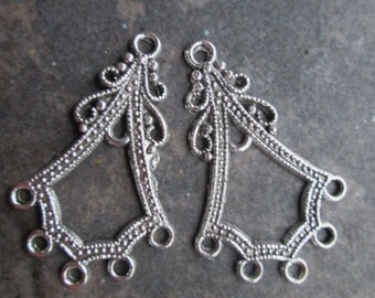 Silver Chandelier earring forms Chandelier earring connectors Package of 2 pairs