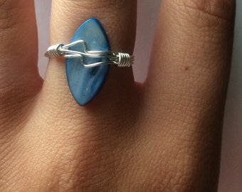 Surfboard Ring ~ Deep Sea Blue ~ Mother of Pearl