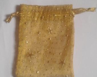 100 Gold Organza Bags 3 x 4 favor bags wedding packaging beads, herbs
