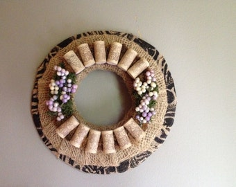 Wine cork wreath/rustic wreath/candleholder/ wine cork decor/  cork crafts/ all season wreath/ kitchen wreath/ burlap wreath/ wall art