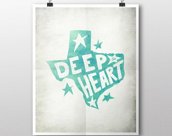 INSTANT DOWNLOAD Deep in the Heart Texas Digital Download Print - White