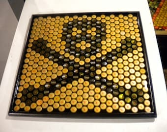 Bottle Cap Art - Skull and Crossbones Pirate Logo - Table Top Epoxy