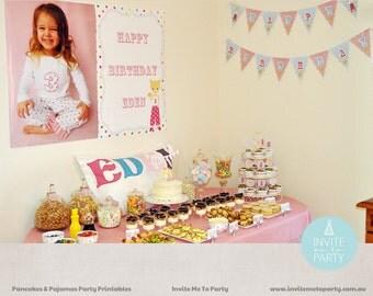 Pancakes and Pajamas  Party Printable Decorations / Pancakes and Pyjamas Party