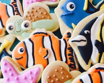 Finding Nemo Cookies, birthday party, baby shower,  Finding Dory, Finding Nemo birthday favors, Finding Nemo Party