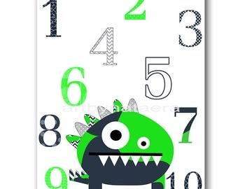 Digital Numbers Nursery Art for Children Monster Nursery Printable Digital Print Baby Boy Nursery Print 8x10 11X14 INSTANT DOWNLOAD Green