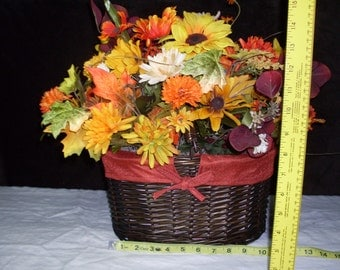 Basket brimming with fall flowers!