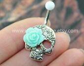 Day Of The Dead, lovely Flower Skull Belly Button Rings,Sugar Skull Navel jewelry,Mint roses eyes,sugar skull belly rings