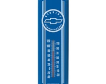 Vintage Style Genuine CHEVROLET CHEVY Bowtie Blue Indoor / Outdoor Thermometer ~ Brand New in Package ~ Made in the USA!