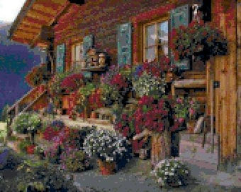 Cottage with Flowers Cross Stitch Chart