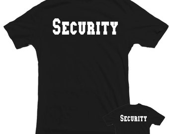 Security T-shirt double side print. Bar, club, park, business, staff, bouncer, police,