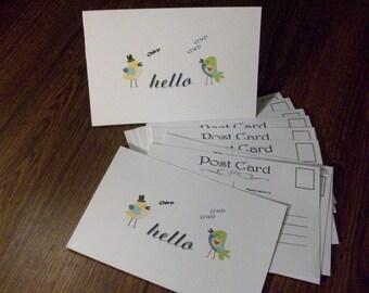 SALE 30% OFF - Postcards, Hello Postcards, Set of 10 Post Cards, Greeting Cards, Postcard Set