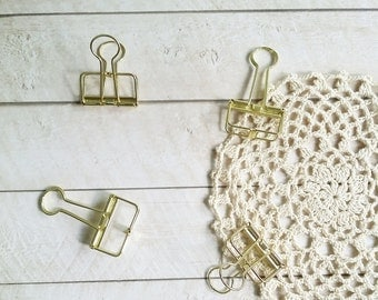 Gold Binder Clip Small/Medium/Large (Gold color)