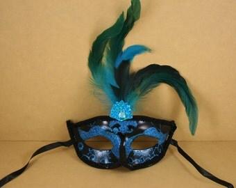 TURQUOISE & BLACK FANCY Mardi Gras Feathered Plastic Glitter Mask Halloween