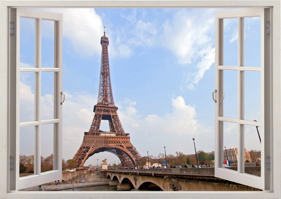 Eiffel Tower wall sticker 3D window, paris decal for home decor, colorful paris wall art nursery kids children for home decoration [025]