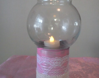 Hurricane lamp tin painted pink burlap & lace  votive candle holder