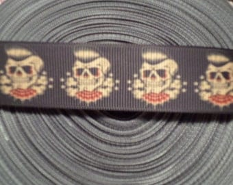 Tattoo Rockabilly Skull Grosgrain Ribbon