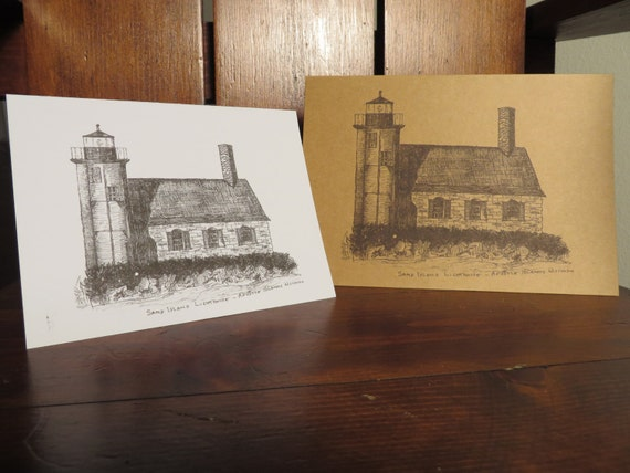 Stationery, Lighthouse Illustrations, Set of 10, Blank Tall & Horizontal, Folded, Natural or White Recycled Paper