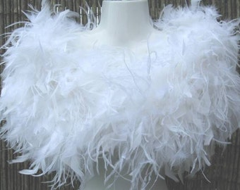 White Ostrich Feather Stole / Shrug / Wrap - Vintage Glamour