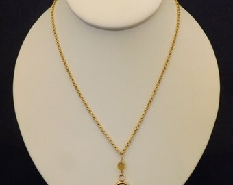 "20"" Faceted Citrine on chain necklace and earrings"