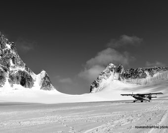Black and White glacier //Denali National Park// Plane landed on glacier// Nature// Alaska//