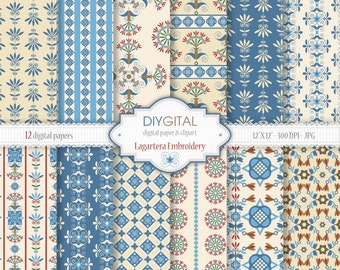 """Spanish folk digital paper: """"Lagartera Embroidery"""" - Folk blue and cream digital papers - Cross stitch - Wrapping paper - Scrapbooking paper"""