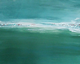 Abstract Tonal Green on A1 Canvas