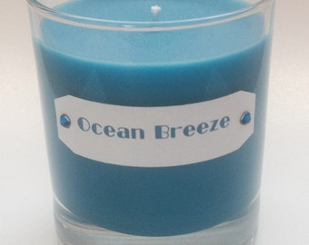 Ocean Breeze scented candle in a glass jar