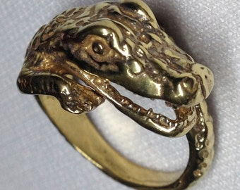 The Gator's Head Solid Brass Ring