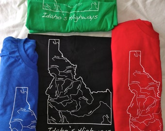 Idaho's Highways, Men's Crew Neck, Alstyle, A1701R Surf Tee.