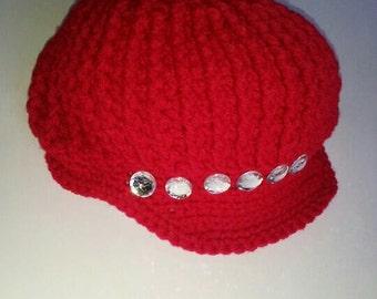 Newboys Women's Red Hat w/beads