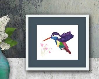 Purple Playful Hummingbird Watercolor Art Print --- Beautiful Home Decor Piece