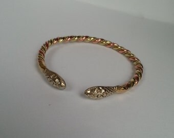 Vintage therapy cuff snake style Triple metal bangle, mix metal bangle, cuff, brass,silver,copper.