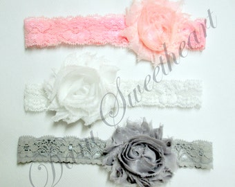 Shabby chic baby lace headband set of 3, newborn/infant headbands, baby shower gift, newborn photo prop