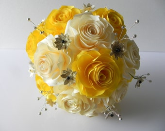 Bright Yellow and Gold Rose Wedding Paper Bouquet with matching boutonniere