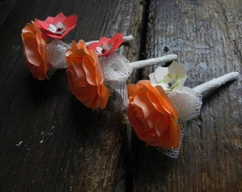 Coral Wedding buttonhole in Origami