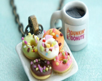 donut plate and coffee necklace- miniature food jewelry, donuts necklace, coffee necklace
