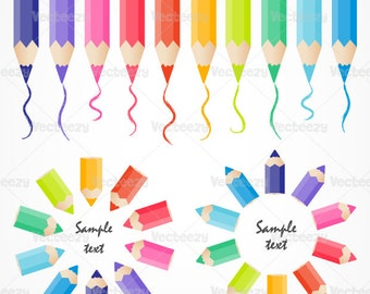 Bright and Colorful Colored Pencil Vectors