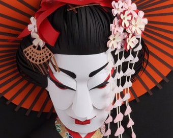 Postcard of original paper sculpture 'Geisha'