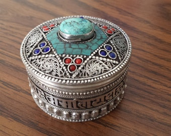 Tibatan Jewelry box, Handmade,Filigree crafted, Pray crafted for peace and fortune, Fastened Turquise,Coral & Lapis.
