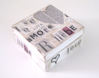 Wooden decoupage storage box, love, amore, black and white