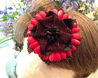 Red Hair Flower, Hair Clip, Hair Flower, Red and Black, Polka Dot Flower, Pinup, Rockabilly Flower, Pinup Fashion, Red Black Rockabilly