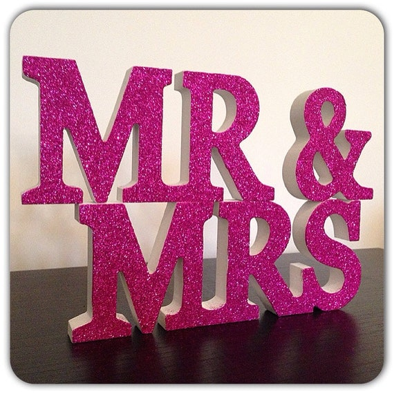 Mr and mrs wedding pink glitter wooden letters by glitterblast for Sparkly wooden letters