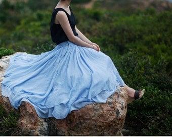 Women cotton blue dress 3 layers