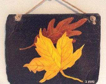 Autumn Leaves on Slate